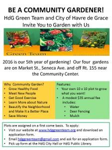 Green Team Garden 2016 poster